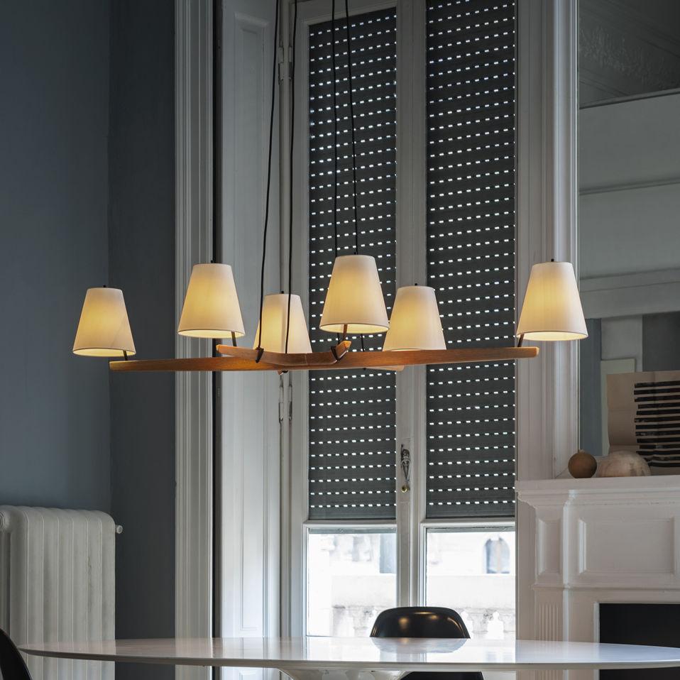 Lampadario moderno / in metallo / in seta / in legno - ADMONT 6 ...
