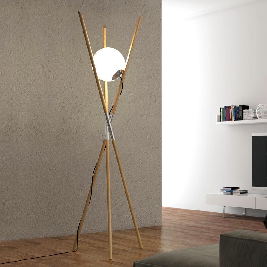 Lampada da terra / design originale / in vetro / in legno - PURE ...