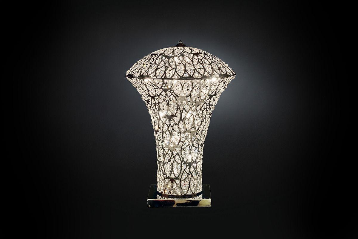 lampada da tavolo / design originale / in cristallo / in acciaio ... - Larabesque Lampade