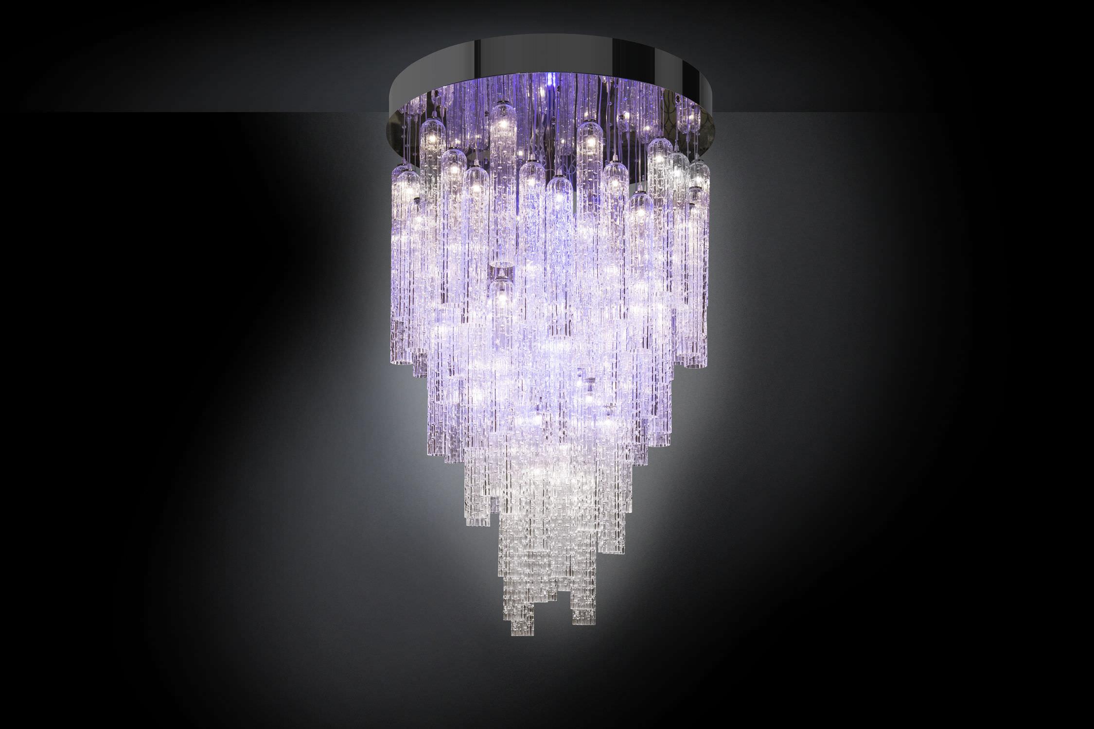 Lampadario moderno in vetro di murano in acciaio inossidabile