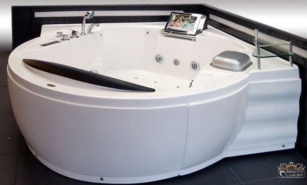 Vasca da bagno d'angolo / in acrilico / idromassaggio / doppia ...