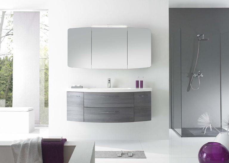 Mobile lavabo sospeso / in legno / moderno / con specchio luminoso ...
