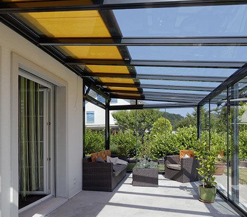 Tettoia per terrazzo / in vetro / in alluminio - TD 1 - Schenker Stores