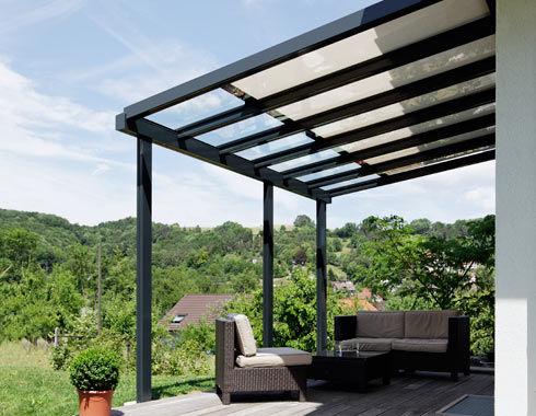 Tettoia per terrazzo / in vetro / in alluminio - TD 2 - Schenker Stores