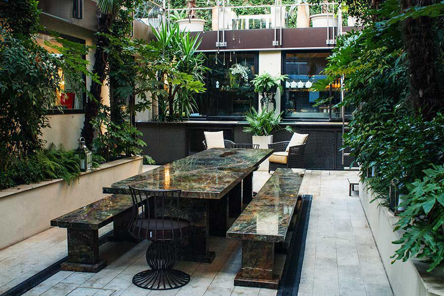 Tavoli Di Marmo Da Giardino : Tavolo moderno in marmo rettangolare da giardino mirach
