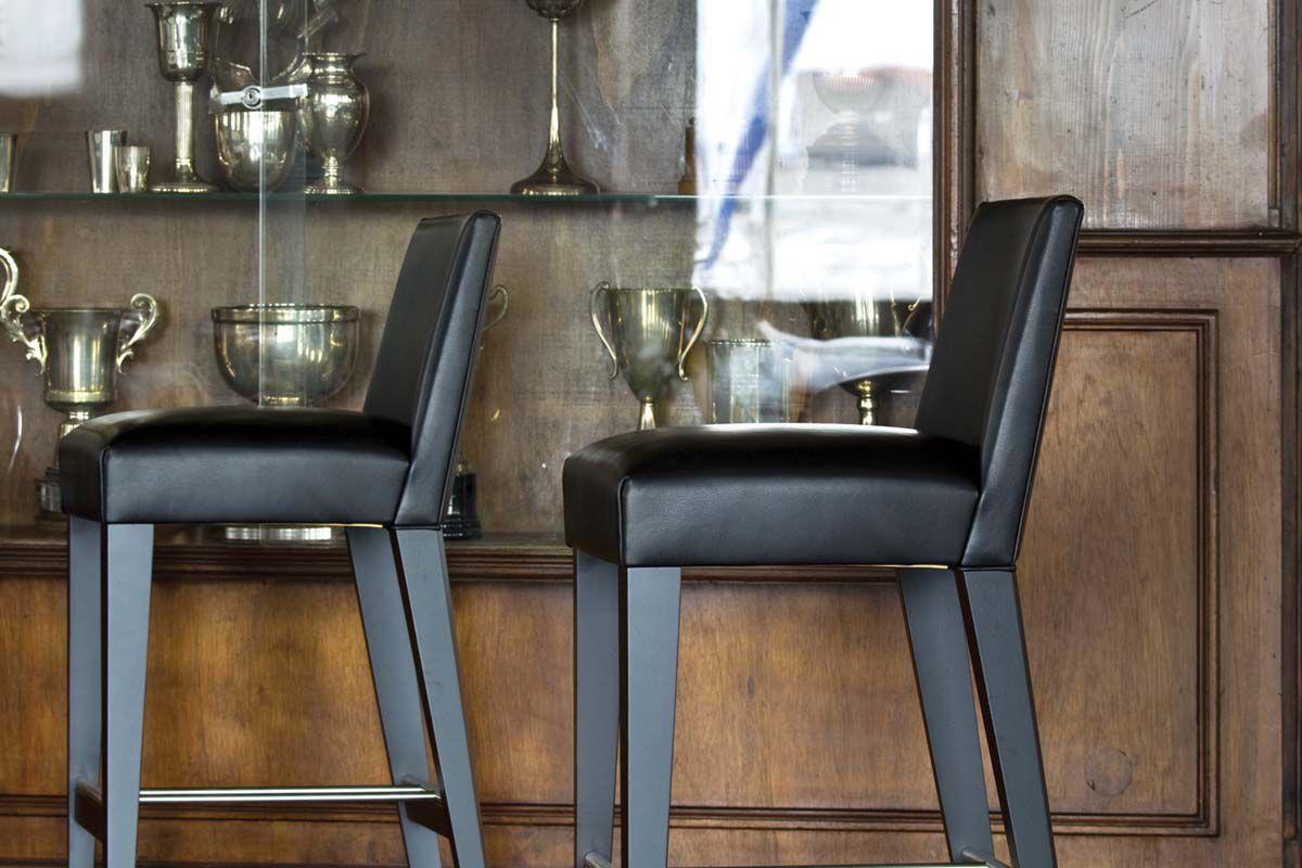 Sgabello da bar moderno in faggio in pelle in tela metro by