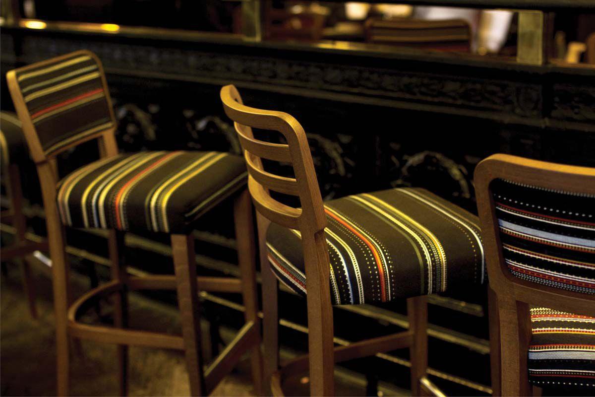 Sgabello da bar moderno in faggio in pelle in tessuto wiener