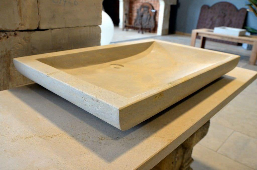 Lavabo Esterno Moderno : Lavabo da appoggio rettangolare in pietra naturale moderno