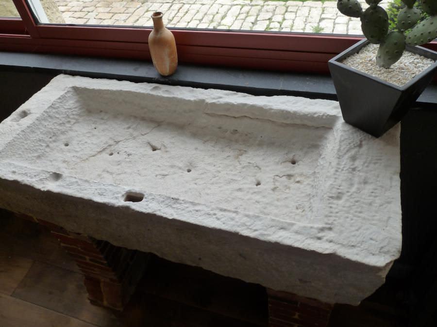Lavello a 2 vasche / in pietra naturale - bca materiaux anciens