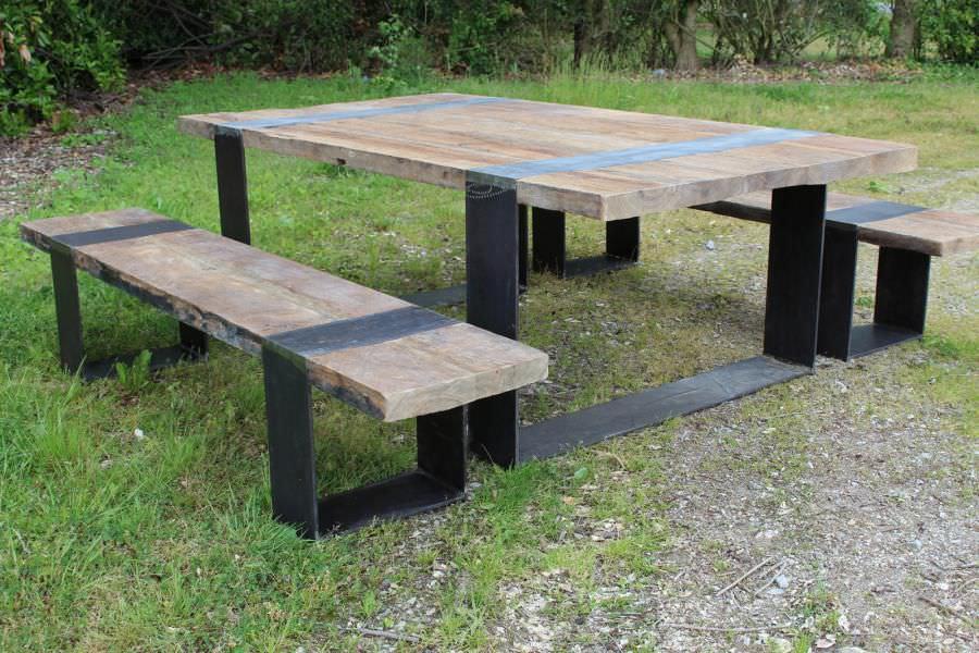 Lavabo Esterno Moderno : Set tavolo e panca moderno in legno per esterni da giardino