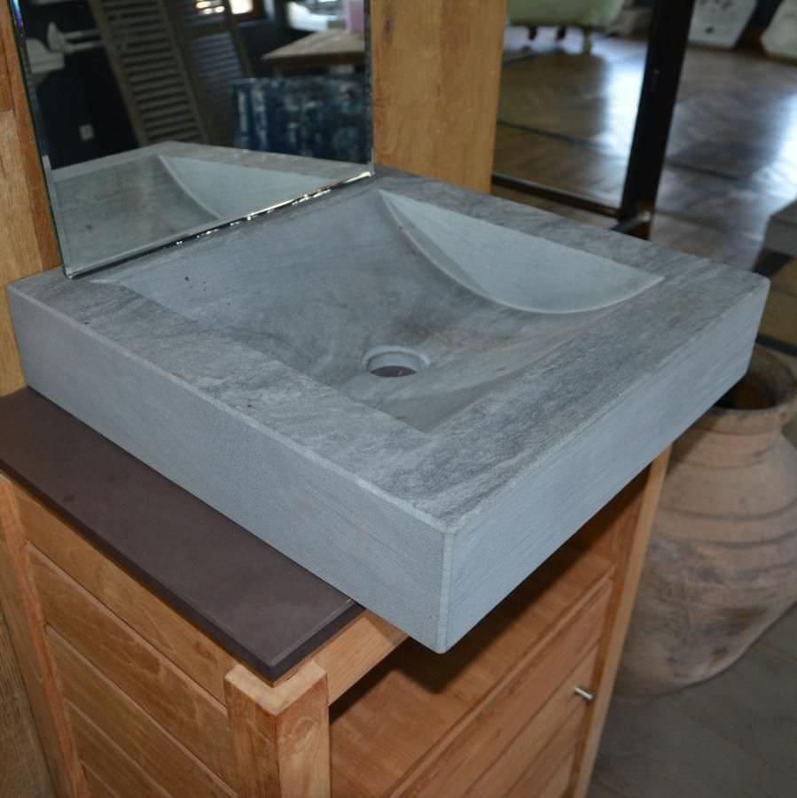 Lavabo da appoggio / rettangolare / in pietra naturale / moderno ...