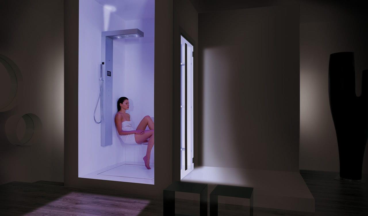 Colonna doccia elettronica con doccia a mano viva hi steam