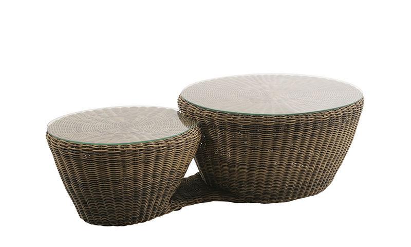 Tavolino Rattan Da Giardino.Tavolino Basso Moderno In Vetro In Rattan Da Giardino Lazy