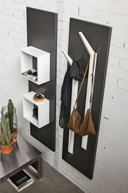 Mobile da ingresso moderno / a muro / in legno / a fissaggio ...