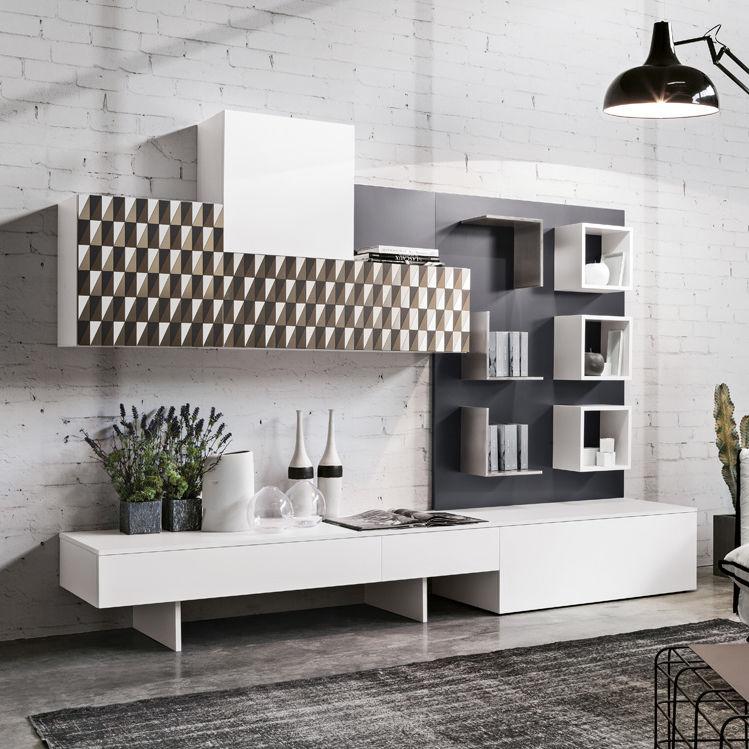 Parete attrezzata per soggiorno moderna / in quercia / in acciaio ...