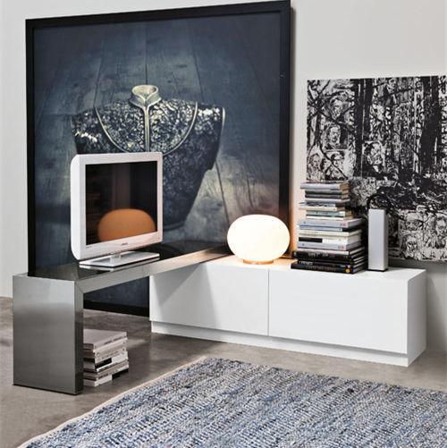 Mobile porta TV moderno / girevole / in legno laccato / in acciaio ...