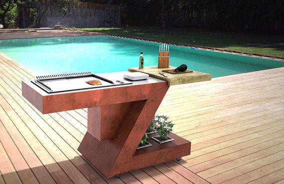 Cucina da esterno / moderna / in acciaio inox / in legno   by ...