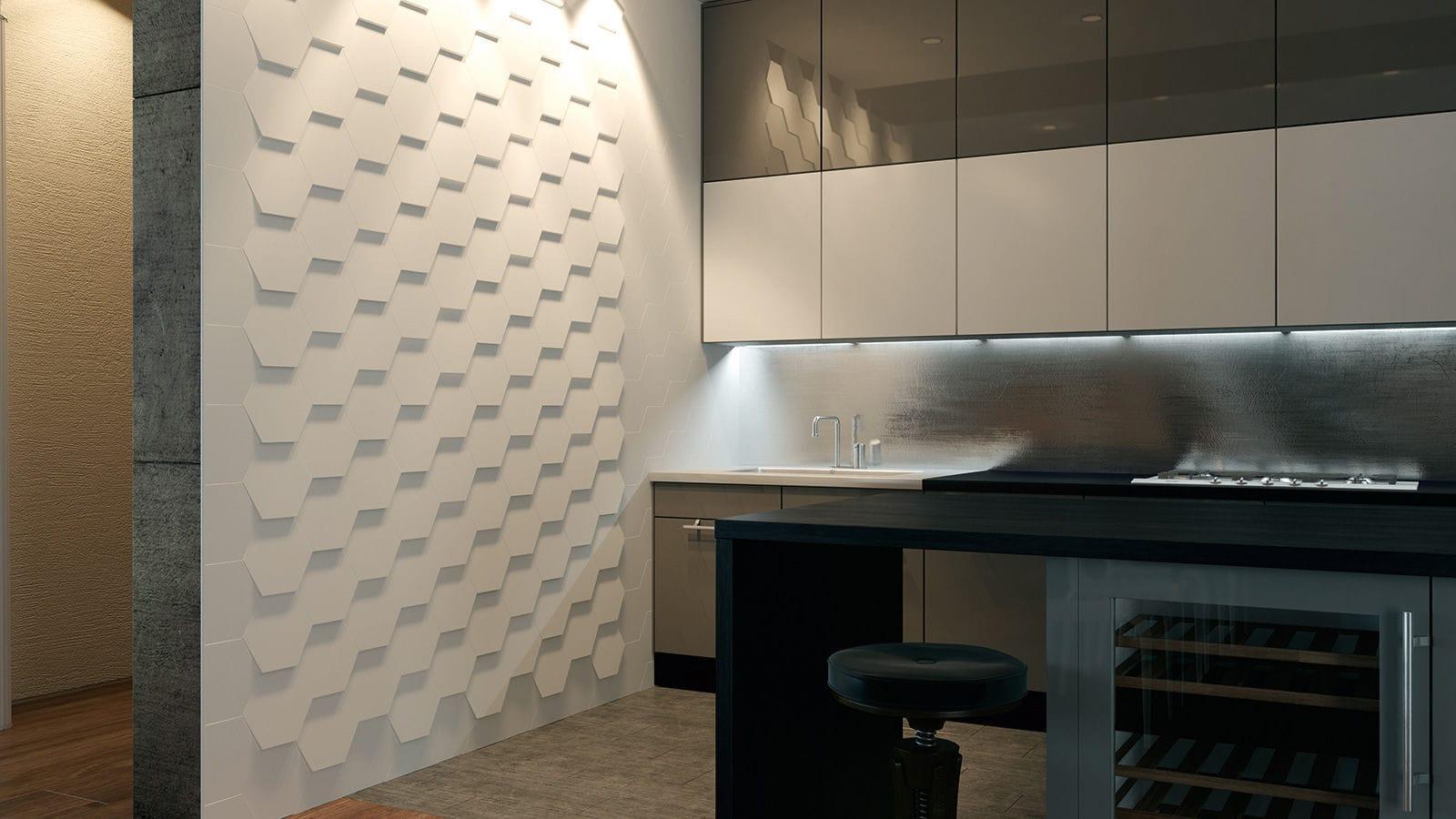 Piastrella da bagno da parete in ceramica a rilievo hexa