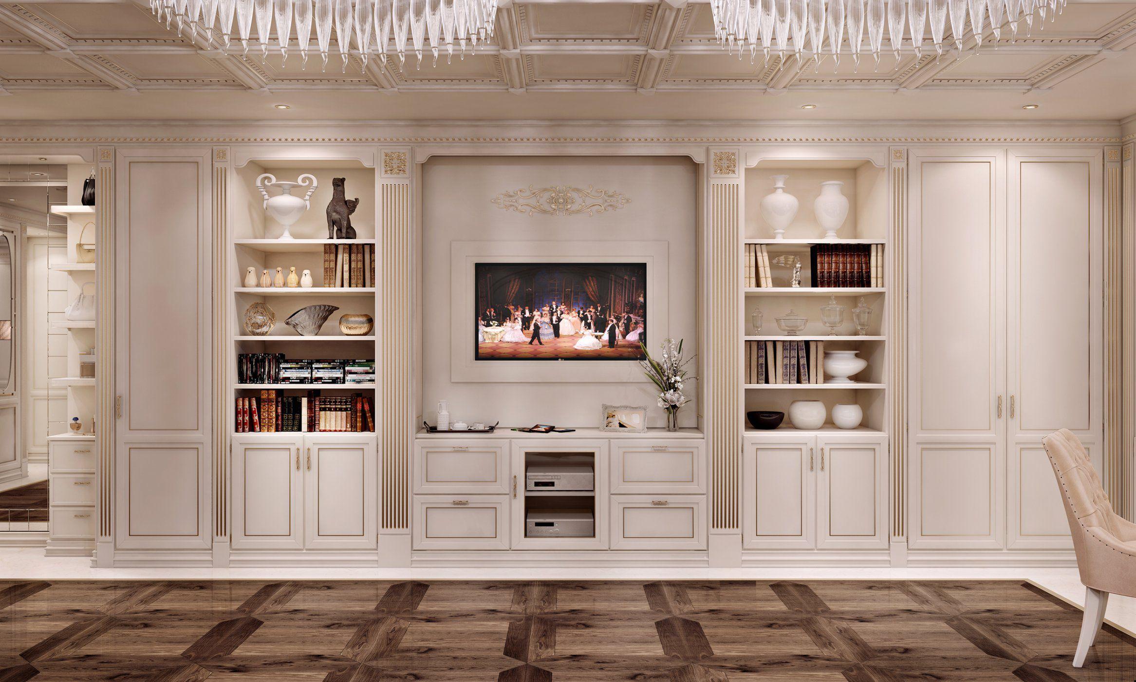 Parete attrezzata TV classico / in legno / in legno laccato ...