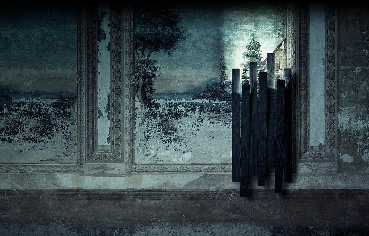 Appendiabiti a muro moderno in frassino retroilluminato