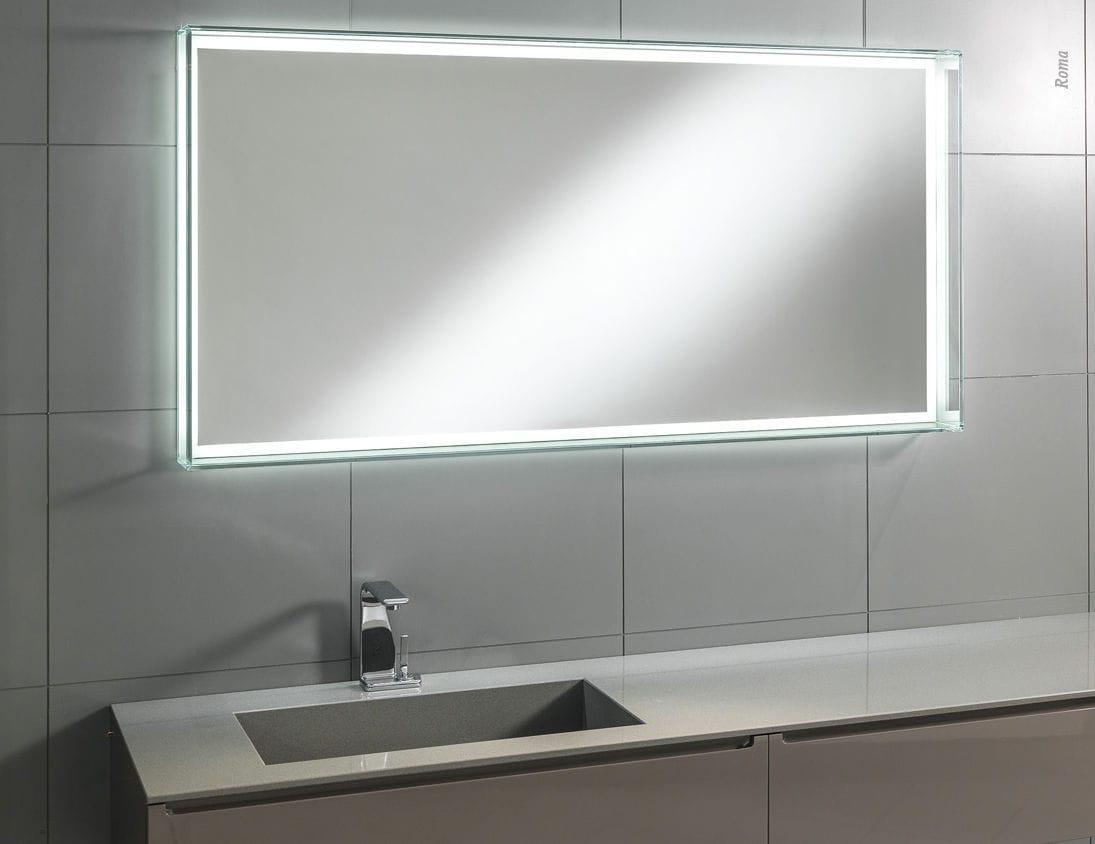 Specchio da bagno a muro luminoso moderno rettangolare roma