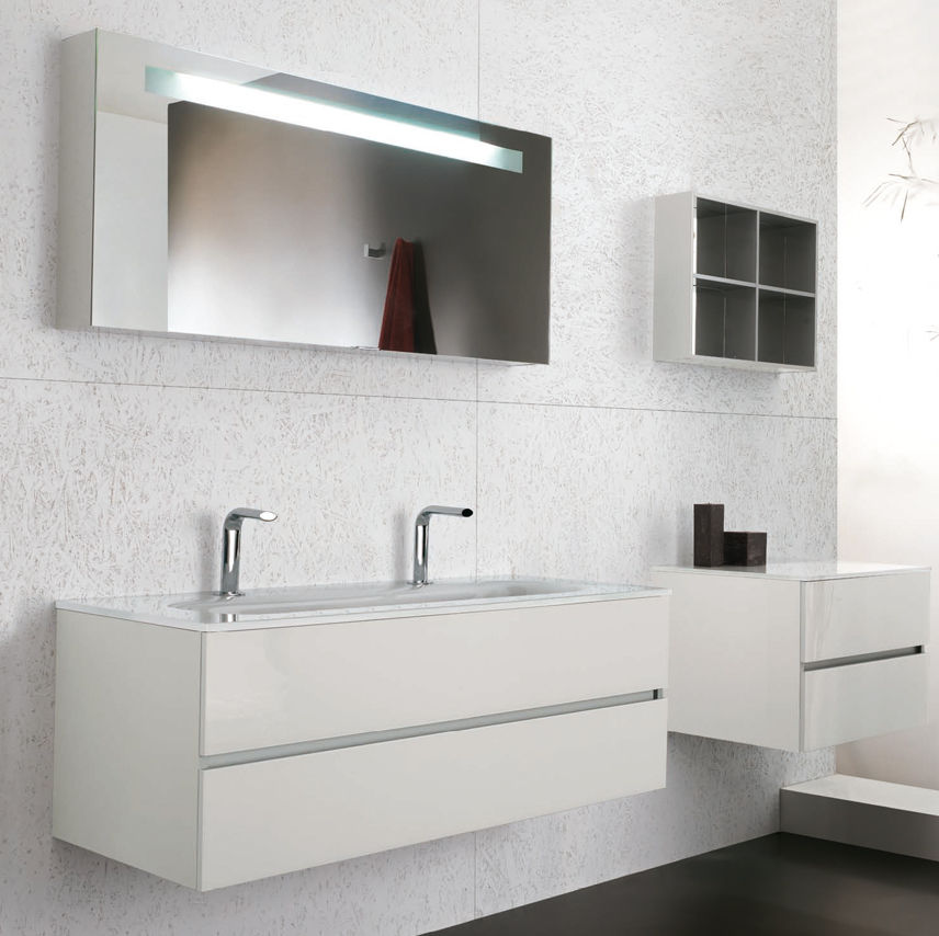 Mobile lavabo doppio / sospeso / in vetro / moderno - SOHO VETRO ...