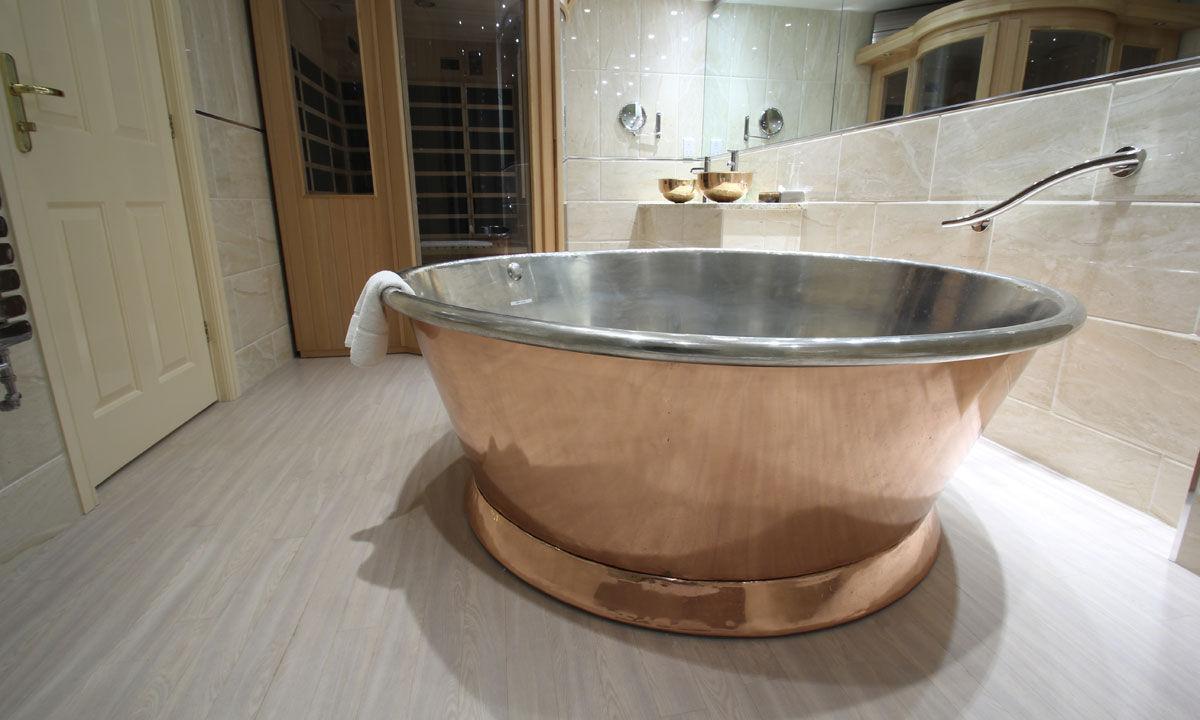 Vasca Da Bagno Di Rame : Vasca da bagno da appoggio tonda in rame in stagno