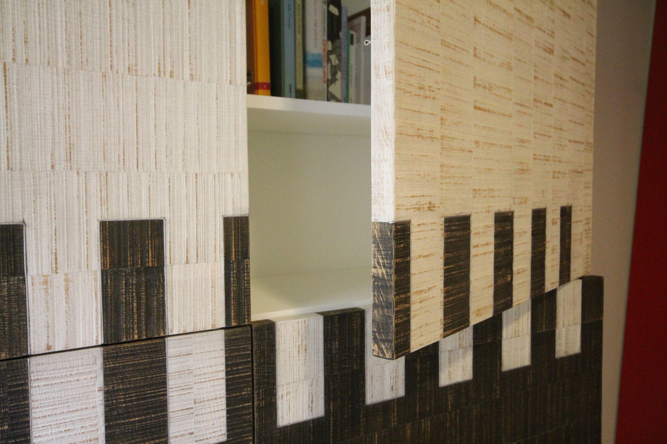 Credenza a muro moderna in quercia in mdf laccato pat up