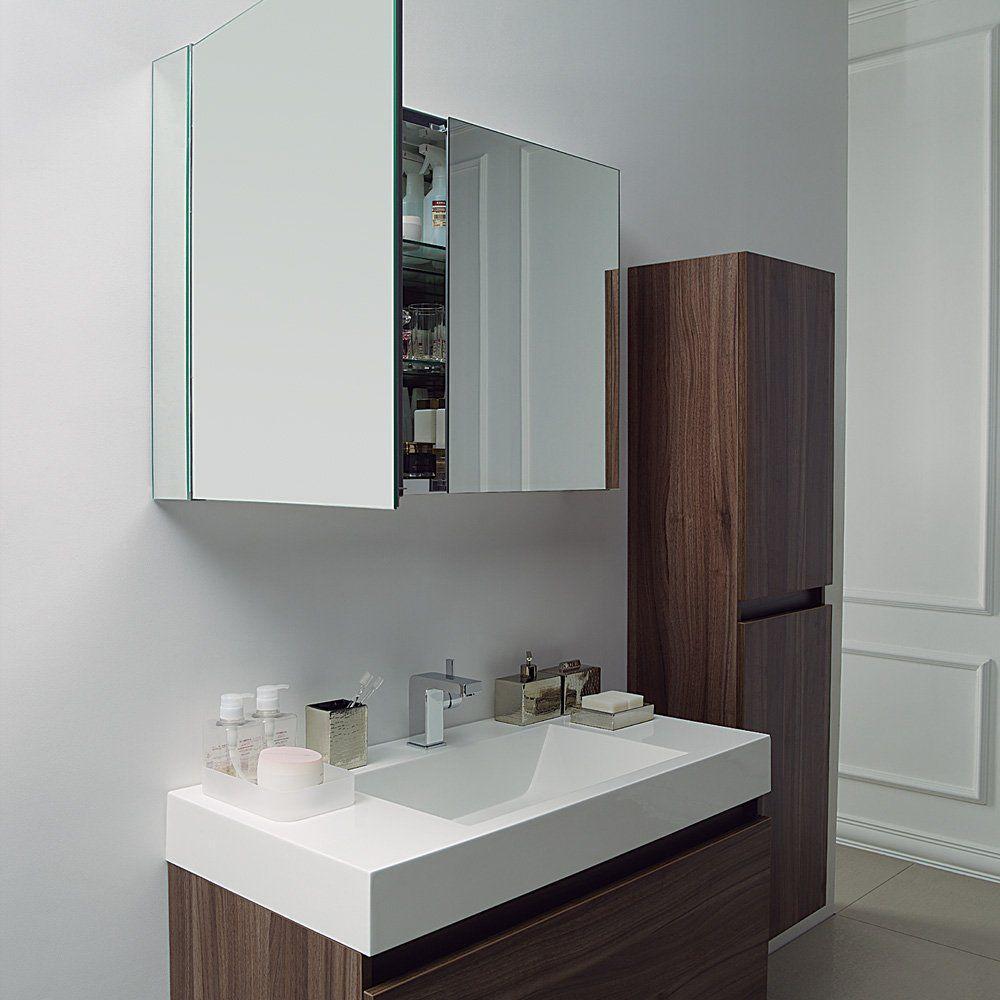Mobile lavabo sospeso / ghisa minerale / in noce / moderno - BAGNO ...