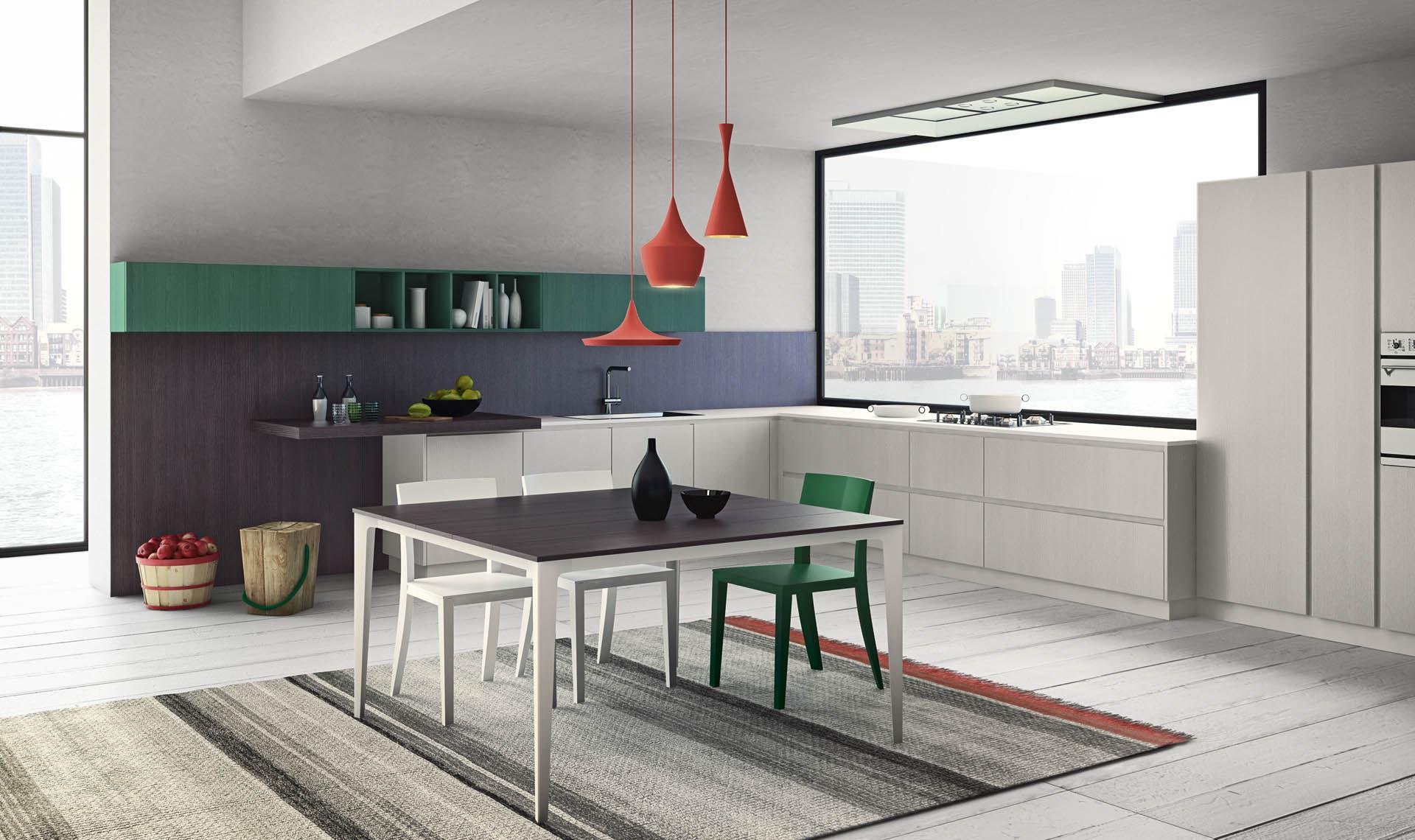 cucina moderna in laminato in legno con isola grafica