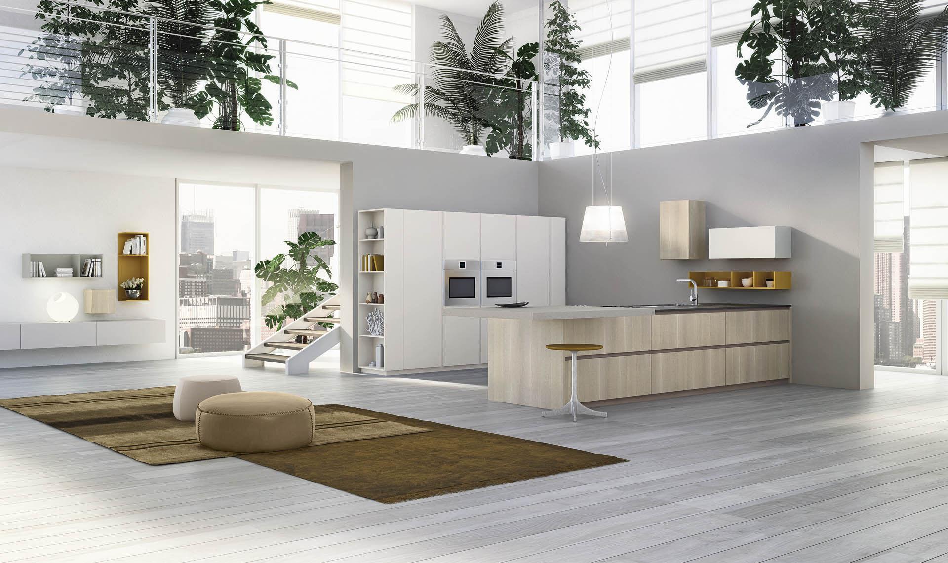 cucina moderna / in laminato / in legno / con isola - grafica ... - Cucine Valdesign