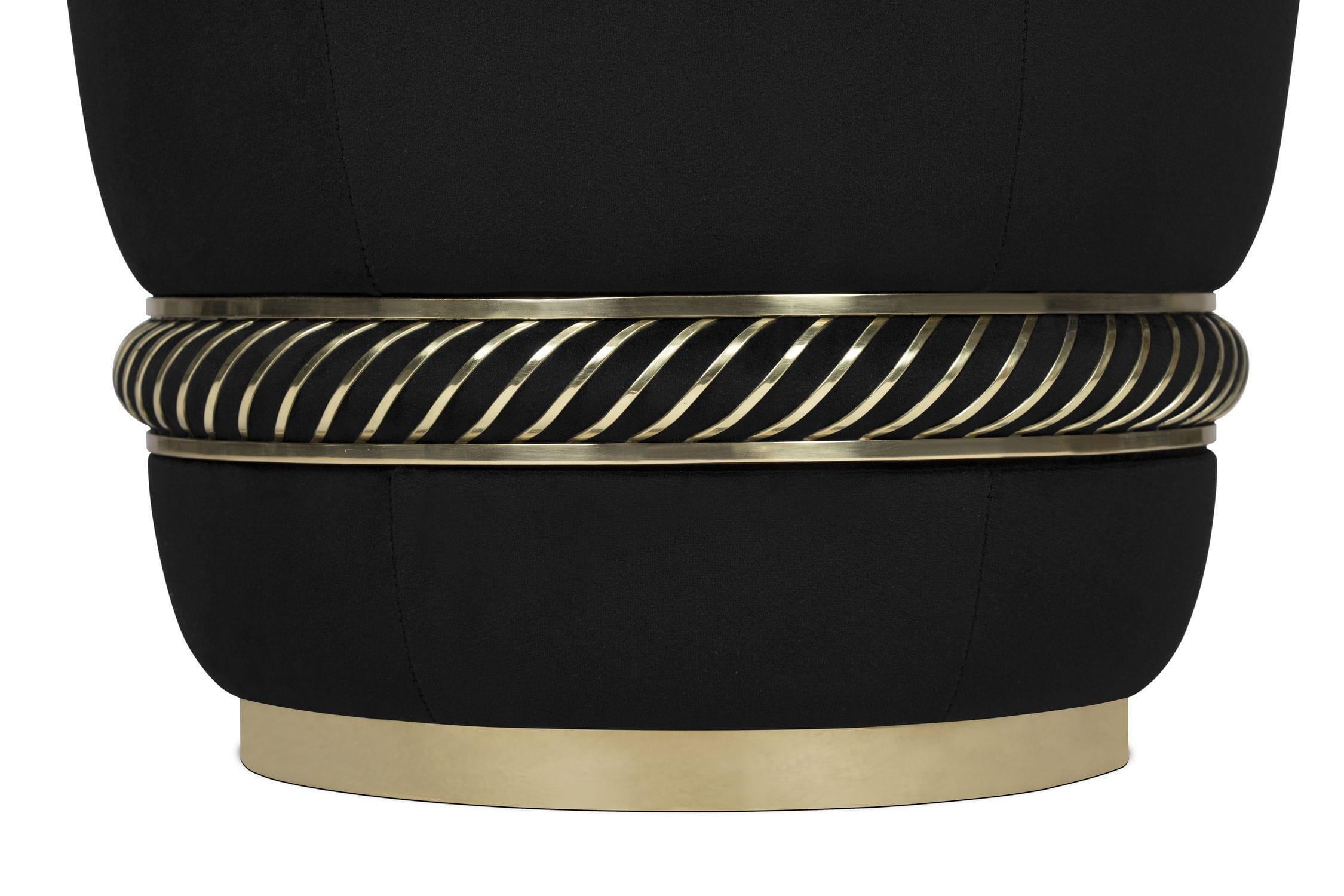 Sgabello moderno in velluto in ottone imbottito noir