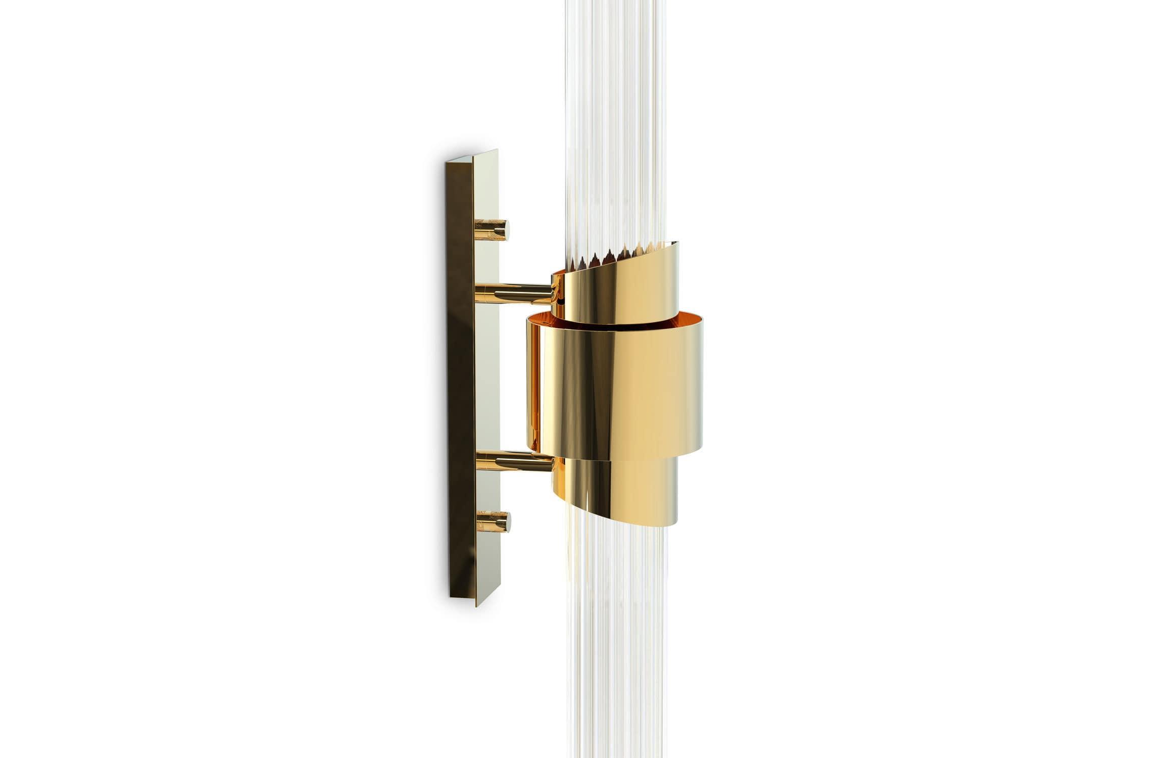 Applique moderna da sala in ottone placcato oro in cristallo