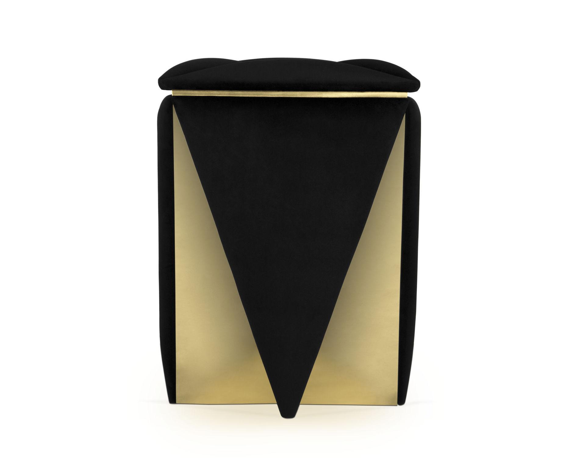 Sgabello moderno in velluto in ottone imbottito prisma