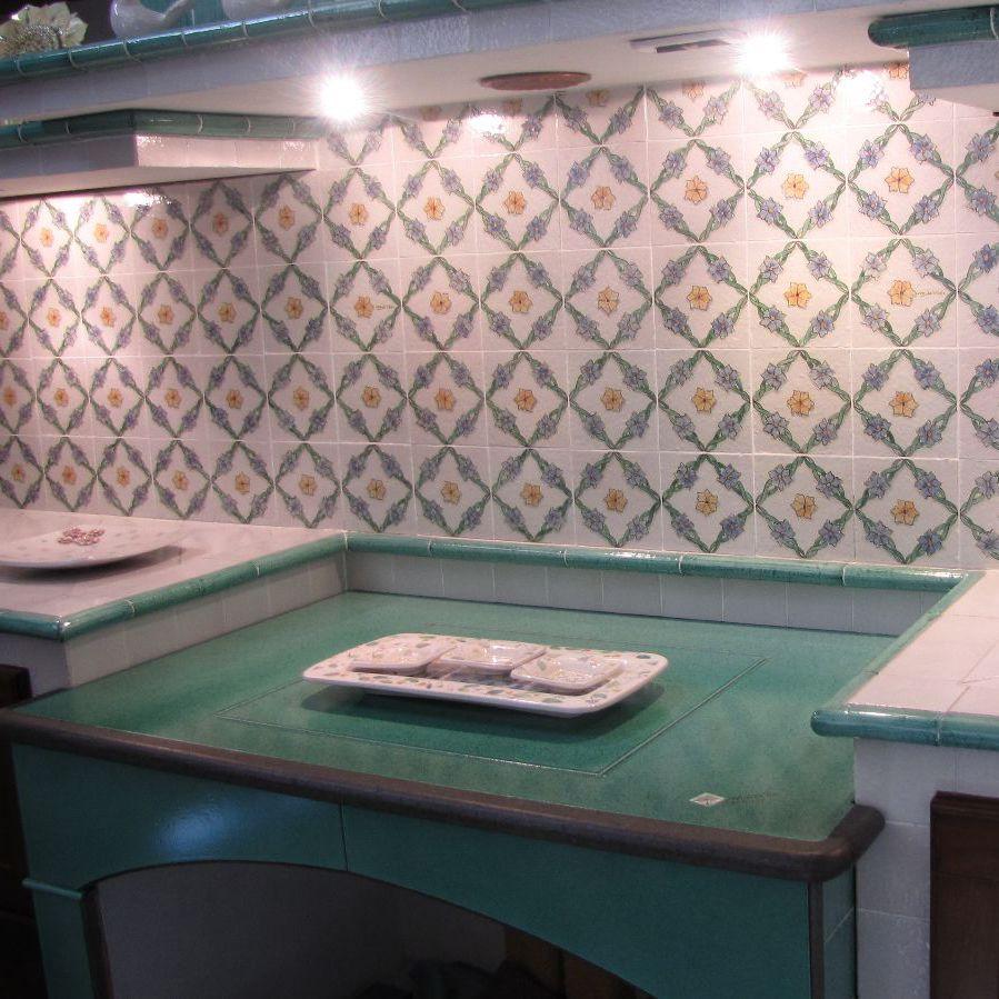 Piano di lavoro in pietra lavica / da cucina / antimacchia / blu ...