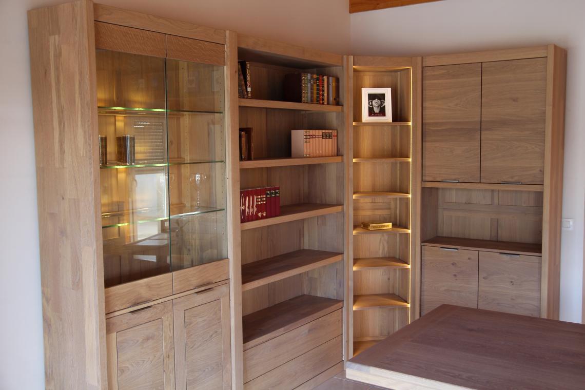 Libreria ad angolo / moderna / in quercia / in legno massiccio ...