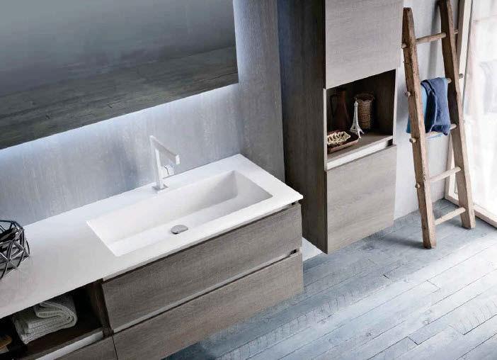 Mobile lavabo sospeso / in quercia / moderno / in kit - QB50 - IDEAL ...