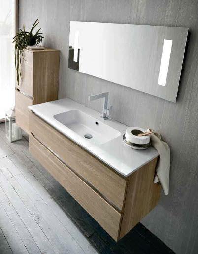 Mobile lavabo sospeso / in quercia / moderno / con specchio - QB51 ...