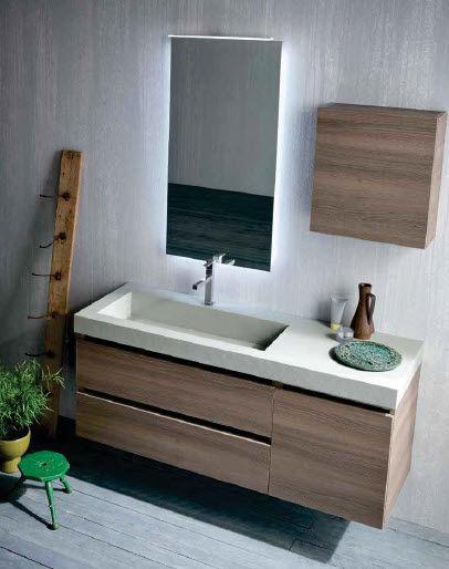 Mobile lavabo sospeso / in legno / moderno - QB53 - IDEAL BAGNI