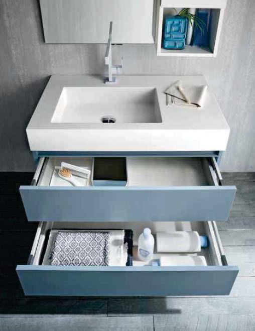 Mobile lavabo sospeso / in olmo / moderno / con specchio - QB55 ...
