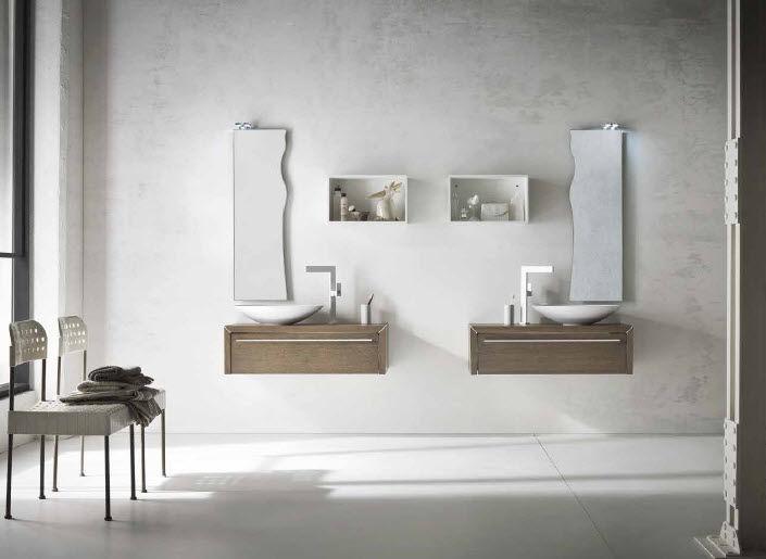 Mobile lavabo sospeso / in quercia / moderno / laccato - AF10 ...