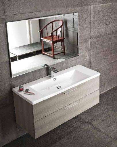 Mobile lavabo sospeso / in quercia / moderno / con specchio - QB05 ...