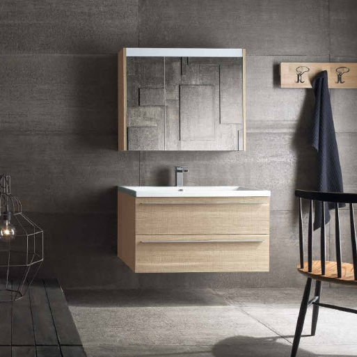 Mobile lavabo sospeso / in quercia / moderno / con specchio - QB06 ...