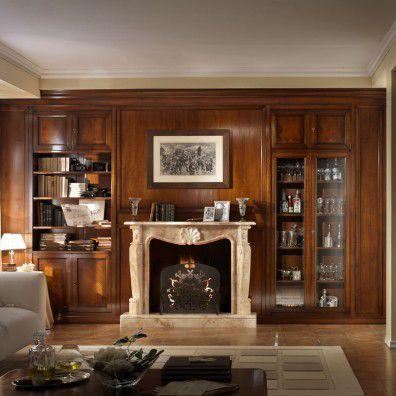 Parete attrezzata per soggiorno classica / in legno - 9835 - Ebanart srl