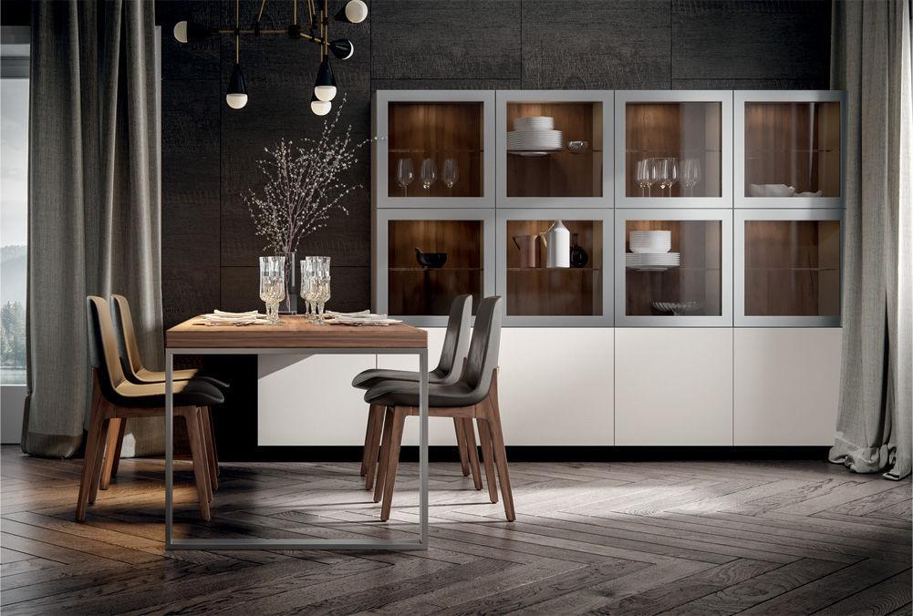 Credenza Con Vetro Moderna : Credenza con alzata moderna in legno vetro genesi home srl