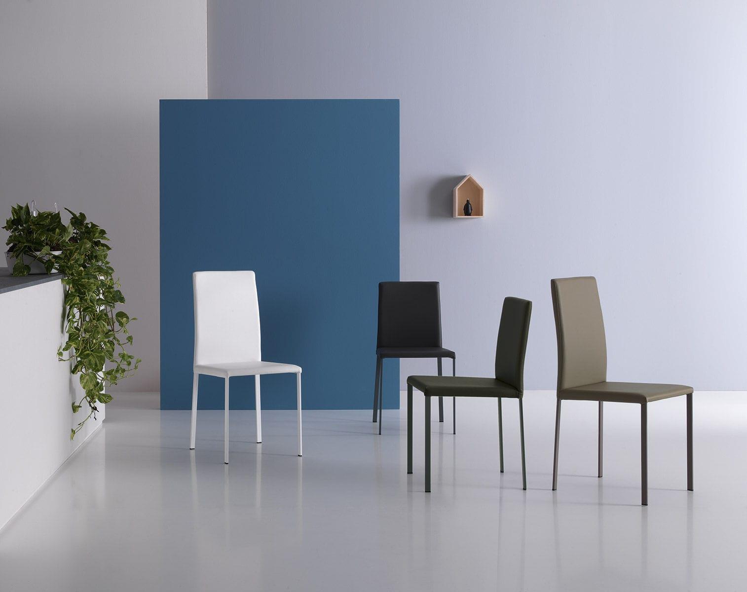 Sedie Schienale Alto Ecopelle : Fads homestyle leonora sedie in ecopelle colore bianco con