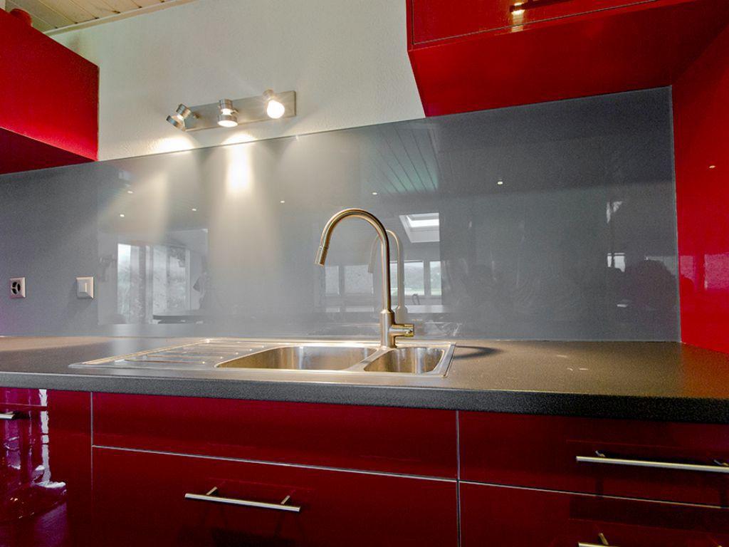 Pannello decorativo in vetro / per cucina / liscio ...