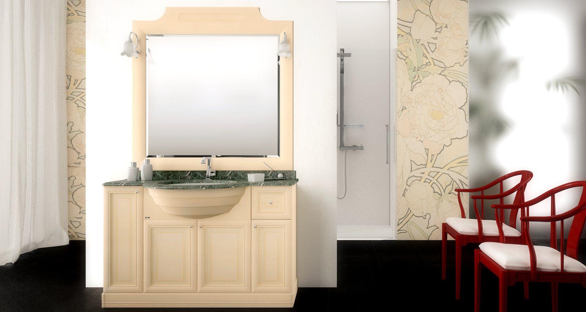 Mobile lavabo da appoggio / in legno / classico / con specchio ...