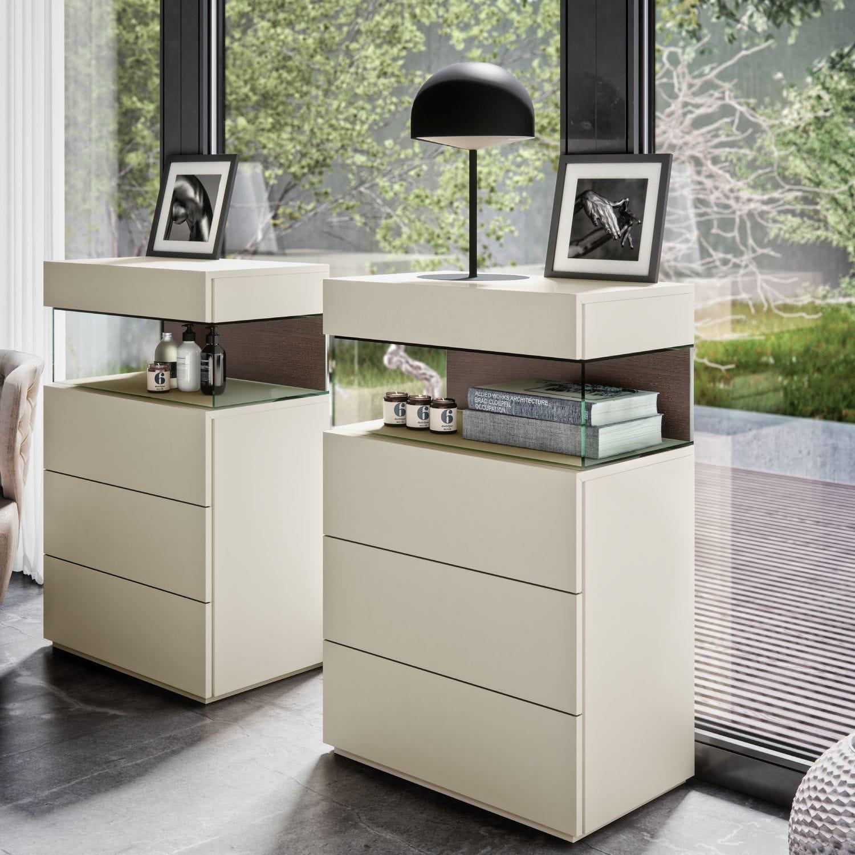 Cassettiera moderna / in legno laccato / bianca - PLINTO - EMEDE