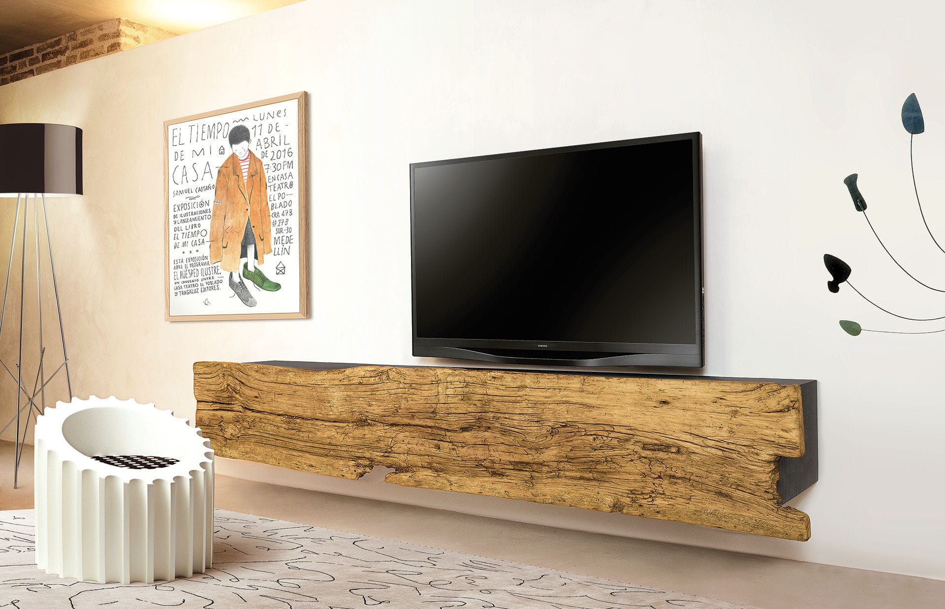Mobile porta TV moderno / in legno massiccio / in frassino - ILL ...